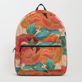 Pink Peonies Pattern with Gold Waves Backpack