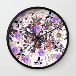 Beautiful watercolor flowers. Blue morning filed Wall Clock