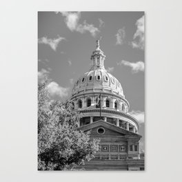 Capitol of Texas - State Building - Austin Texas Black and White Canvas Print