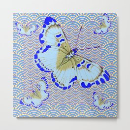 ORIENTAL STYLE BLUE-WHITE EXOTIC BUTTERFLY BLUE ART Metal Print
