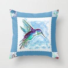 Blue Jewel Box Hummingbird Throw Pillow