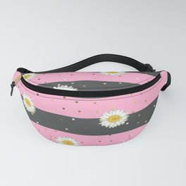 Daisy Flower seamless White and Yellow pattern and Gold Confetti on Gray and Hot Pink Stripes Background Fanny Pack