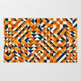 Orange Navy Color Overlay Irregular Geometric Blocks Square Quilt Pattern Rug