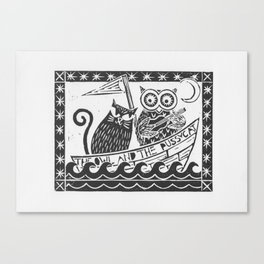 The Owl And The Pussycat (white background) Canvas Print