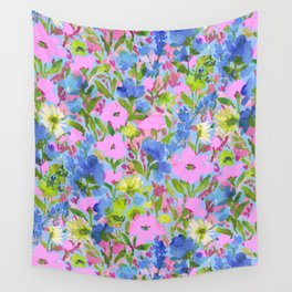 Wild Garden Pink on Blue Wall Tapestry