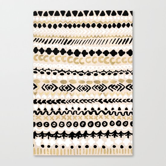 Black, White & Gold Tribal Canvas Print