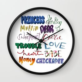 Endearments (color) Wall Clock