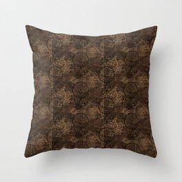 Clockwork Collage Brown Throw Pillow