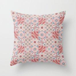 Patchwork pattern - Quilt Design - red, pink, blue Throw Pillow