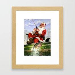 Fishing Santa Christmas Shirt Framed Art Print