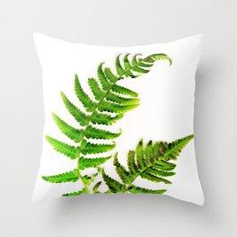 Fern on white Throw Pillow