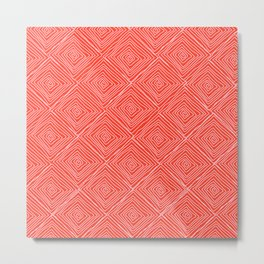 Squiggle Square Pattern Red Metal Print