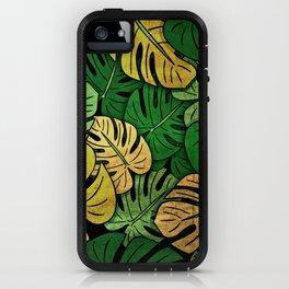 Grunge Monstera Leaves iPhone Case