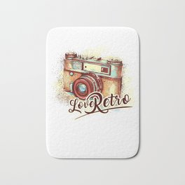 Retro design with vintage camera Bath Mat