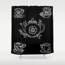Floral Tea Kettle Tea Cups and Saucers Set Illustration Shower Curtain