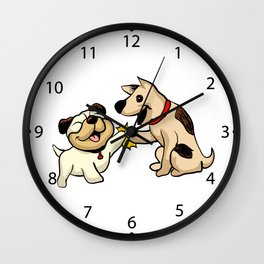 two dogs greeting Cartoon Illustration Wall Clock