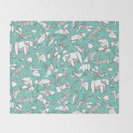 origami animal ditsy mint Throw Blanket