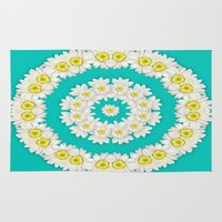 coasters Area & Throw Rugs featuring White Daisies on Turquoise Background by Lena Photo Art