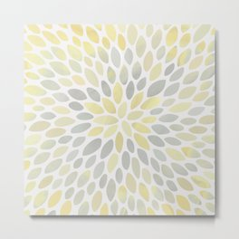 Floral Bloom, Abstract Watercolor, Yellow and Gray, Floral Prints Metal Print