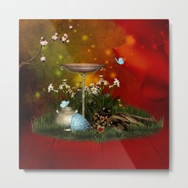 Easter eggs with butterflies Metal Print