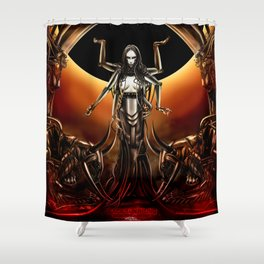 Black Sun Rising Shower Curtain