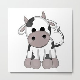 Cuddly Cow Metal Print