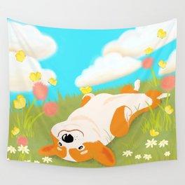 A Happy Corgi In The Sun Wall Tapestry