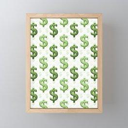 Dollar Sign Pattern Framed Mini Art Print