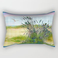 Plaid Beachscape with Seagrass Rectangular Pillow