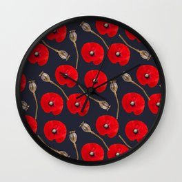 Poppy Pattern Wall Clock