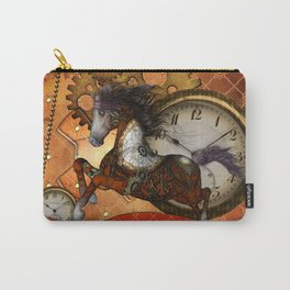 Steampunk, wonderful wild, red  steampunk horse Carry-All Pouch