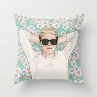 coconutwishes Throw Pillows featuring Niall daisies field by Coconut Wishes