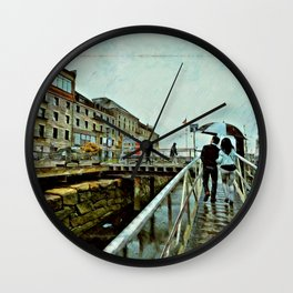 Boston Rain: Exit Gate 3 Wall Clock