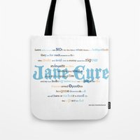 jane eyre Tote Bags featuring Jane Eyre Quote by Lisa Naselli
