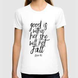 Psalm 46:5 God Is Within Her She Will Not Fall, Nursery Girls,Gift For Her,Bible verse,Scripture Art T-shirt