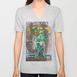 Yellow and Orange Flowers in a Vase Unisex V-Neck