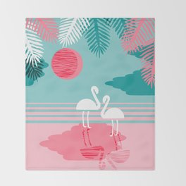 Chill Vibes - memphis retro throwback 1980s 80s neon pop art flamingo paradise socal vacation Throw Blanket