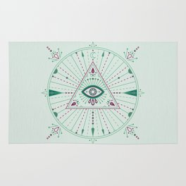 Evil Eye Mandala – Mint Rug