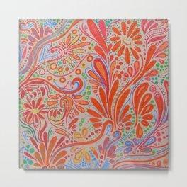 Orange ~Ornate Flowers Metal Print