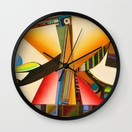 African American Masterpiece 'Janus' abstract landscape painting by E.J.Martin Wall Clock