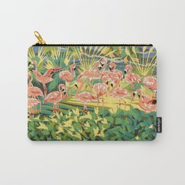 "Pink Flamingos Garden Birds - Limited Edition Lithograph Print - Impressionism 30"" x 26"" Carry-All Pouch"