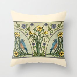 Bluebirds And Spring Blossoms Inspired By Art Nouveau Throw Pillow