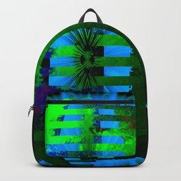Green Layered Star in Aqua Flames Backpack