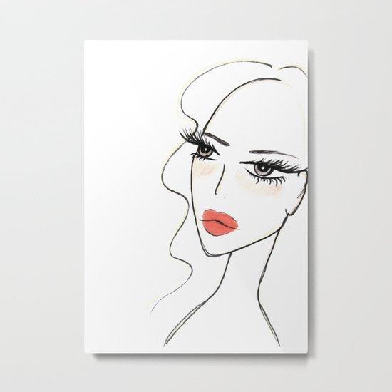 Red lips girl portrait Metal Print