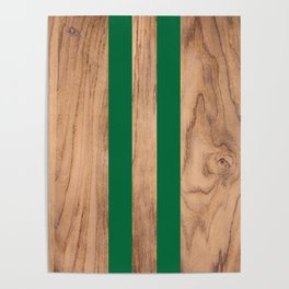 Wood Grain Stripes - Green #319 Poster