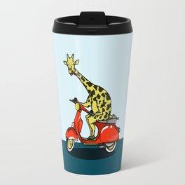 Giraffe riding a moped Travel Mug