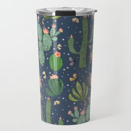 Succulents in Blue Travel Mug