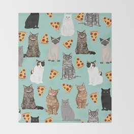 Cats pizza slices food cat lover pet gifts must have cat breeds Throw Blanket
