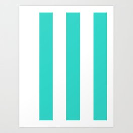 Wide Vertical Stripes - White and Turquoise Art Print