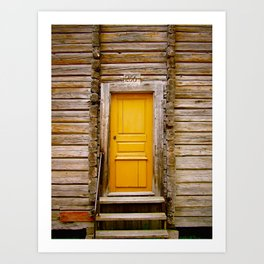 What lies behind the orange door? Art Print